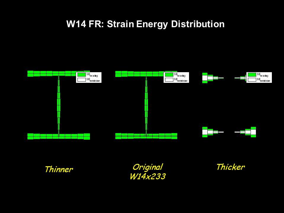 W14 FR: Strain Energy Distribution Thinner ThickerOriginal W14x233