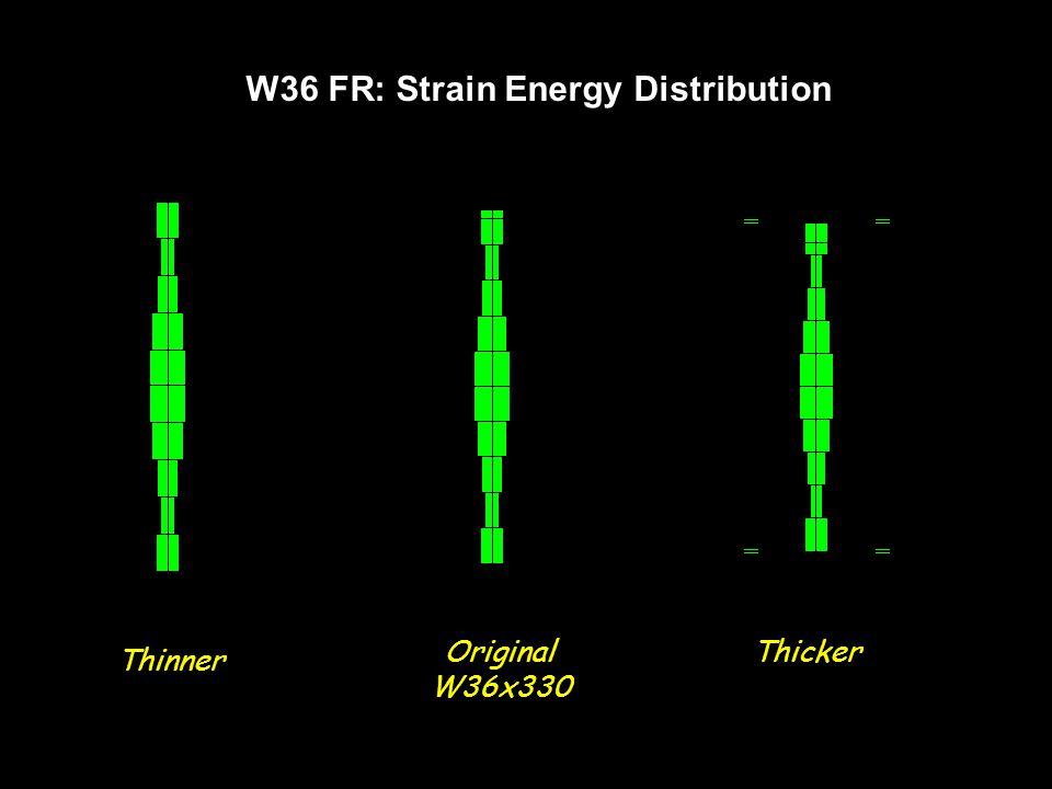 W36 FR: Strain Energy Distribution Thinner Original W36x330 Thicker