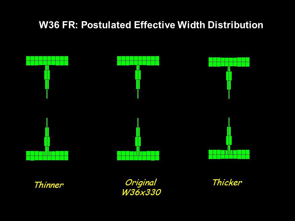 W36 FR: Postulated Effective Width Distribution Thinner Original W36x330 Thicker