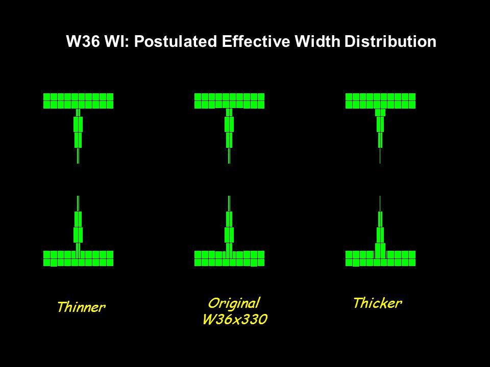 W36 WI: Postulated Effective Width Distribution Thinner Original W36x330 Thicker