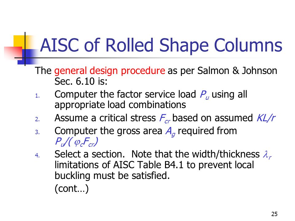 25 AISC of Rolled Shape Columns The general design procedure as per Salmon & Johnson Sec. 6.10 is: 1. Computer the factor service load P u using all a