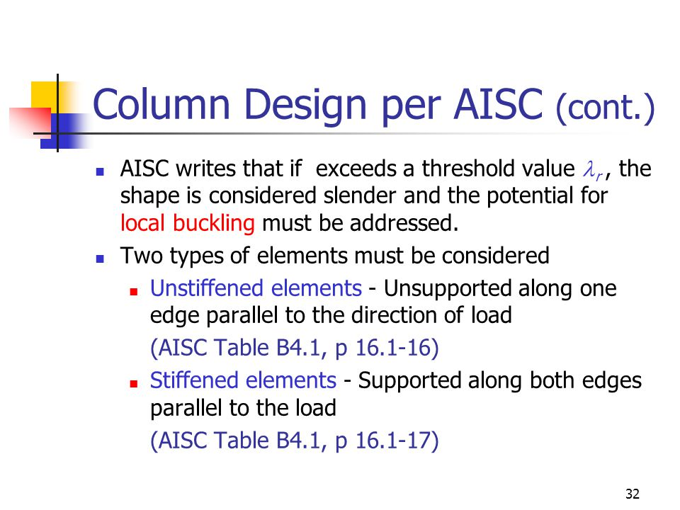 32 Column Design per AISC (cont.) AISC writes that if exceeds a threshold value r, the shape is considered slender and the potential for local bucklin