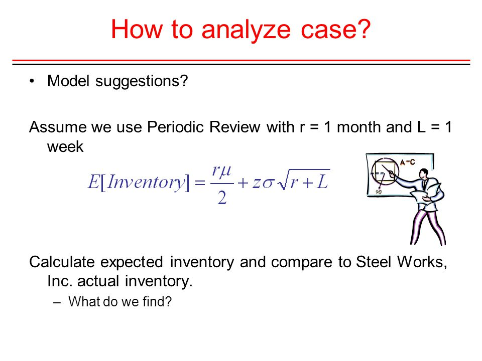 How to analyze case? Model suggestions? Assume we use Periodic Review with r = 1 month and L = 1 week Calculate expected inventory and compare to Stee