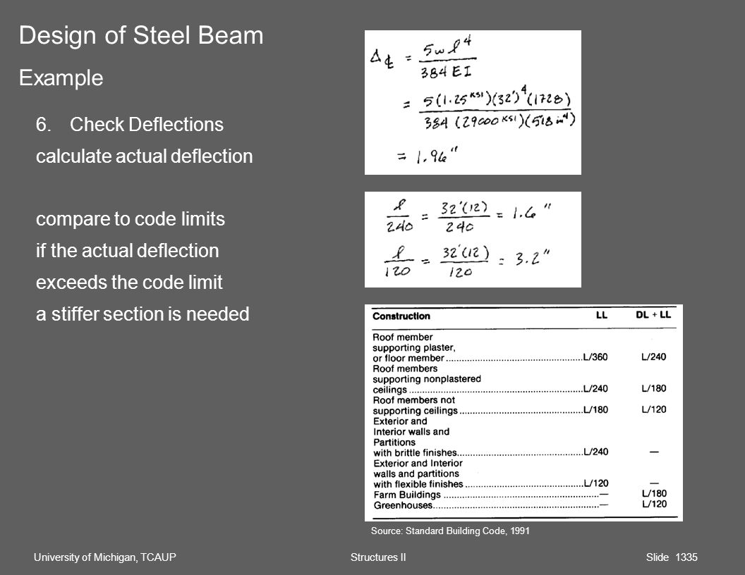 6.Check Deflections calculate actual deflection compare to code limits if the actual deflection exceeds the code limit a stiffer section is needed Design of Steel Beam Example University of Michigan, TCAUP Structures II Slide 1335 Source: Standard Building Code, 1991