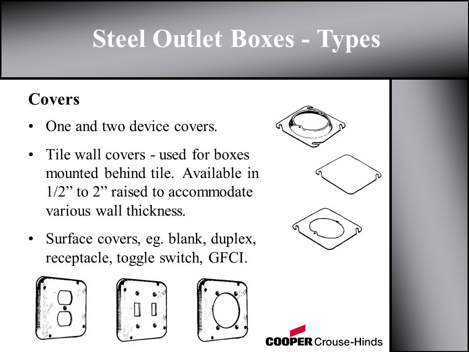 Steel Outlet Boxes - Types Covers One and two device covers.
