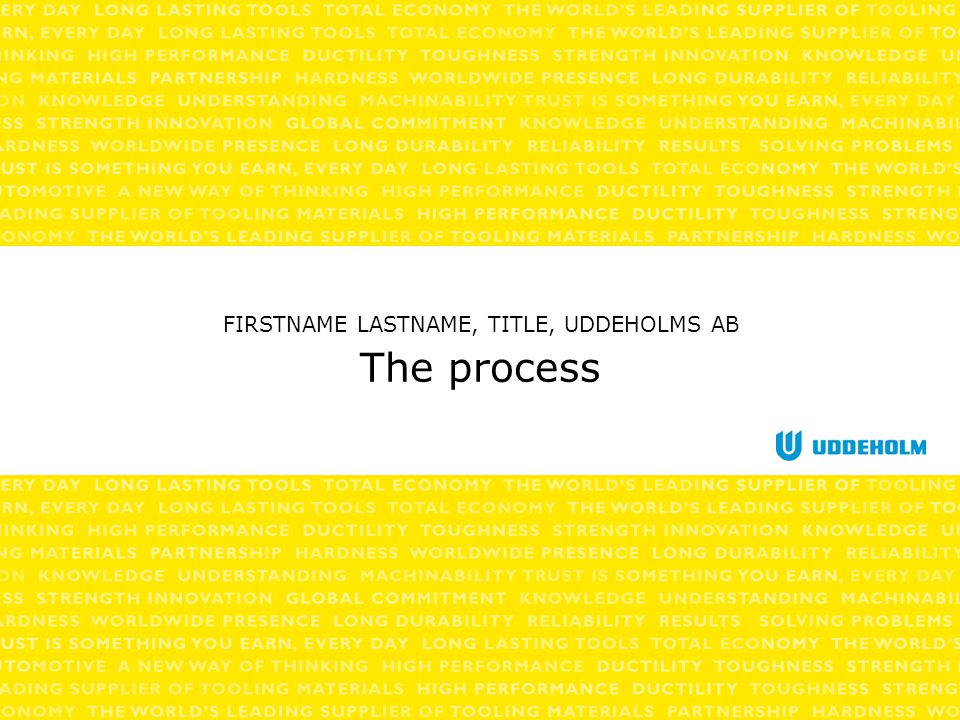 The process FIRSTNAME LASTNAME, TITLE, UDDEHOLMS AB