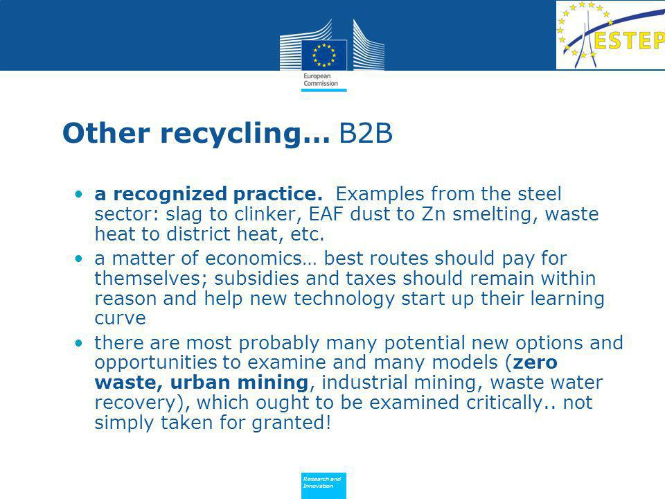 Policy Research and Innovation Research and Innovation Other recycling… B2B a recognized practice.