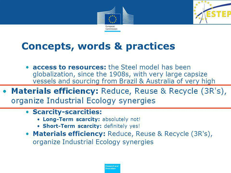 Research and Innovation Research and Innovation Recycling, material to material 3R s Recycle