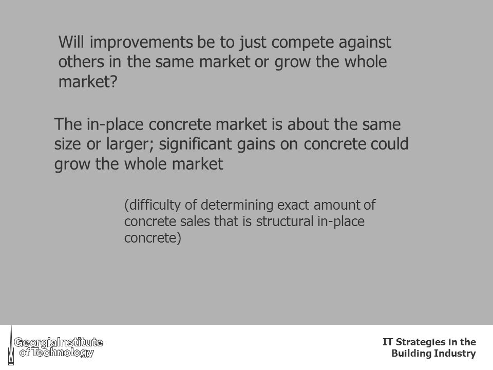IT Strategies in the Building Industry Will improvements be to just compete against others in the same market or grow the whole market? The in-place c