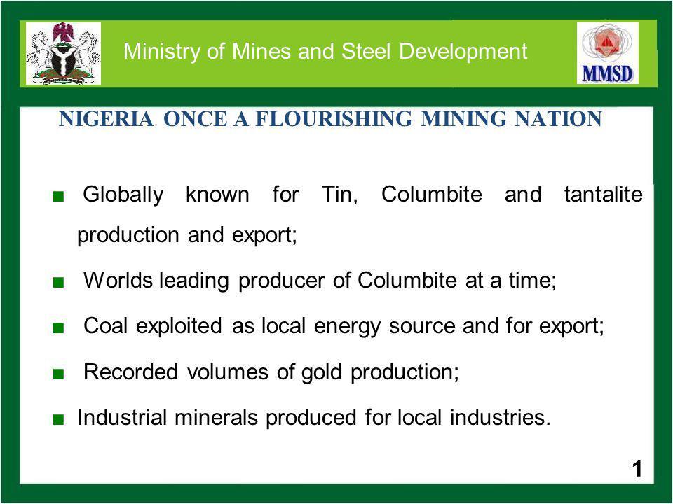 32 Ministry of Mines and Steel Development HONOURABLE MINISTER MINISTRY OF MINES AND STEEL DEVELOPMENT 2 LUANDA CRESCENT OFF ADETOKUNMO ADEMOLA CRESCENT WUSE II, ABUJA TEL: 09-5235830 FAX: 09-5236518 www.mmsd.gov.ng www.miningcadastre.gov.ng www.ngsa.ng.org 32