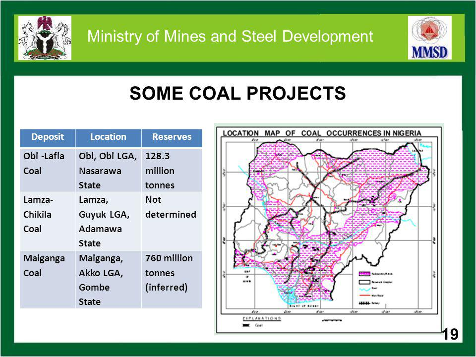 19 Ministry of Mines and Steel Development SOME COAL PROJECTS DepositLocationReserves Obi -Lafia Coal Obi, Obi LGA, Nasarawa State 128.3 million tonne