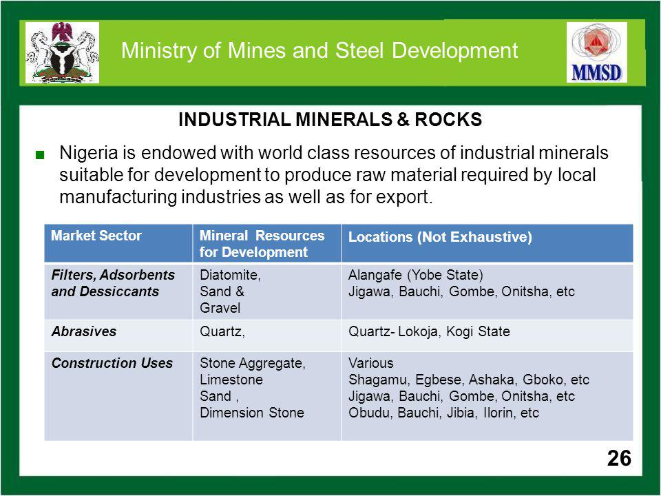 26 Ministry of Mines and Steel Development Nigeria is endowed with world class resources of industrial minerals suitable for development to produce ra