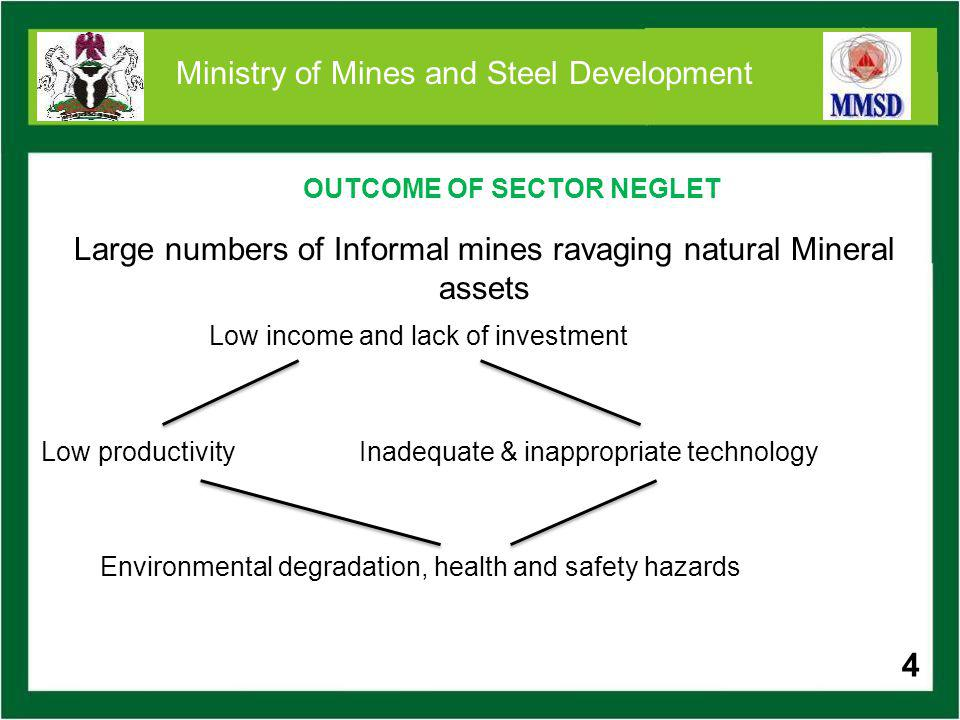 4 Ministry of Mines and Steel Development OUTCOME OF SECTOR NEGLET 4 Large numbers of Informal mines ravaging natural Mineral assets Low income and la