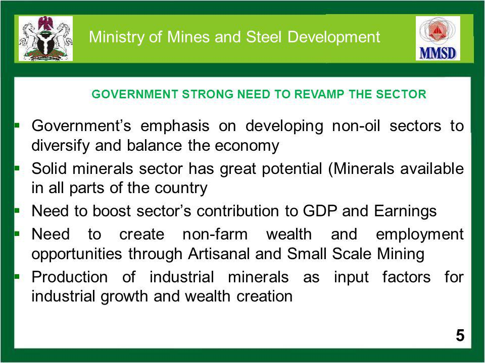 16 Ministry of Mines and Steel Development IRON ORE Two broad types of iron ore resources occur in Nigeria: Banded iron formations in folded bands in the Precambrian rocks e.g.