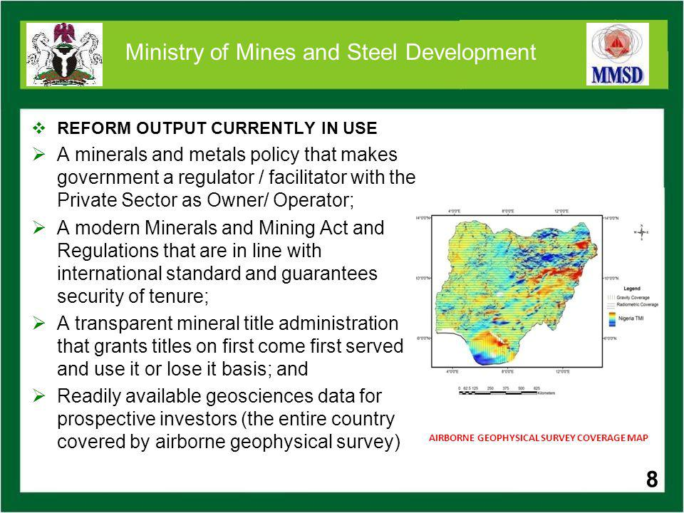 19 Ministry of Mines and Steel Development SOME COAL PROJECTS DepositLocationReserves Obi -Lafia Coal Obi, Obi LGA, Nasarawa State 128.3 million tonnes Lamza- Chikila Coal Lamza, Guyuk LGA, Adamawa State Not determined Maiganga Coal Maiganga, Akko LGA, Gombe State 760 million tonnes (inferred) 19