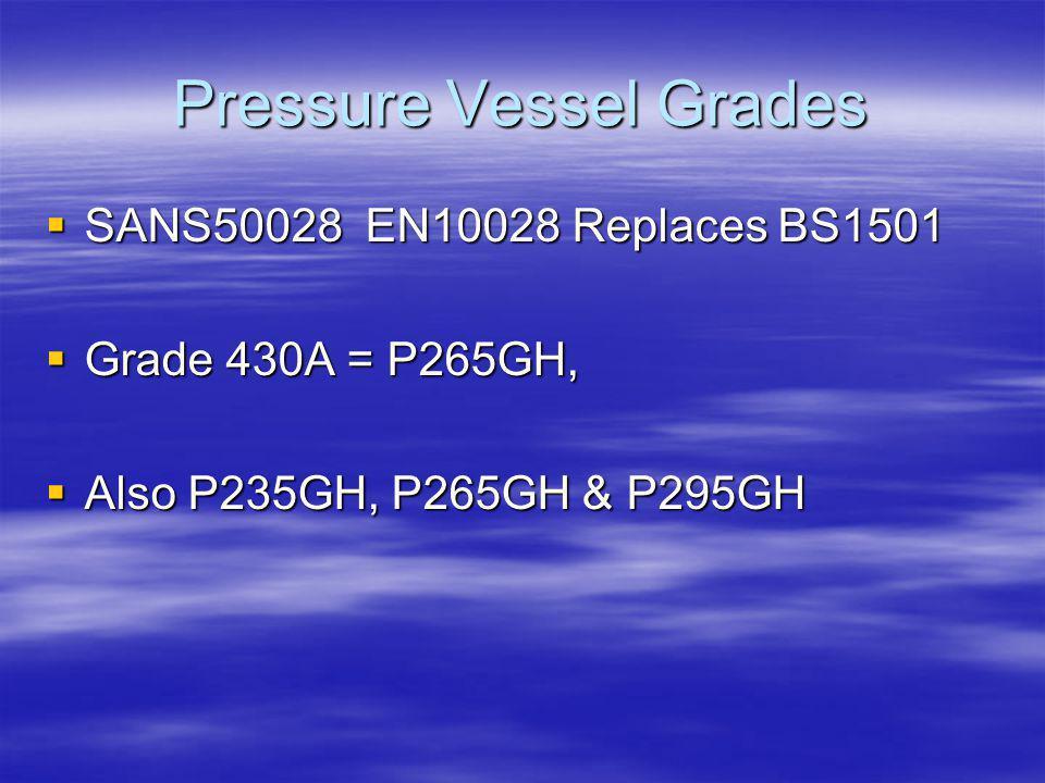 Pressure Vessel Grades SANS50028 EN10028 Replaces BS1501 SANS50028 EN10028 Replaces BS1501 Grade 430A = P265GH, Grade 430A = P265GH, Also P235GH, P265