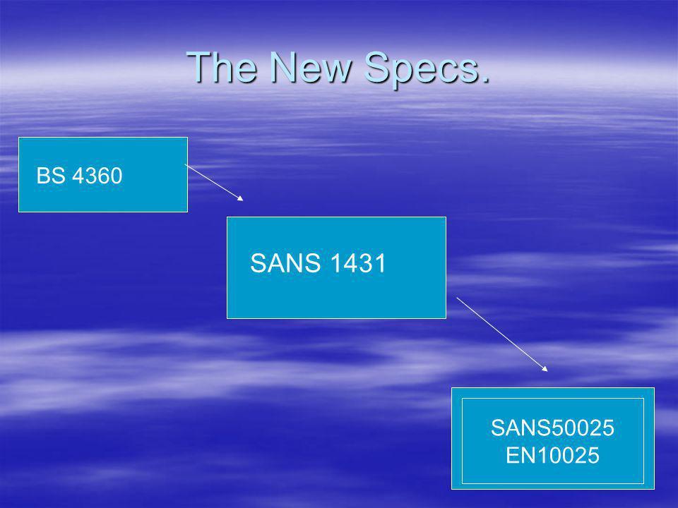 The New Specs. BS 4360 SANS 1431 SANS50025 EN10025