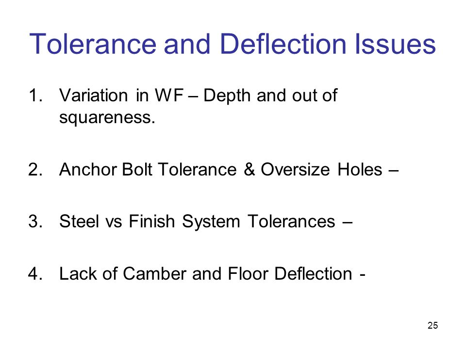 25 Tolerance and Deflection Issues 1.Variation in WF – Depth and out of squareness. 2.Anchor Bolt Tolerance & Oversize Holes – 3.Steel vs Finish Syste