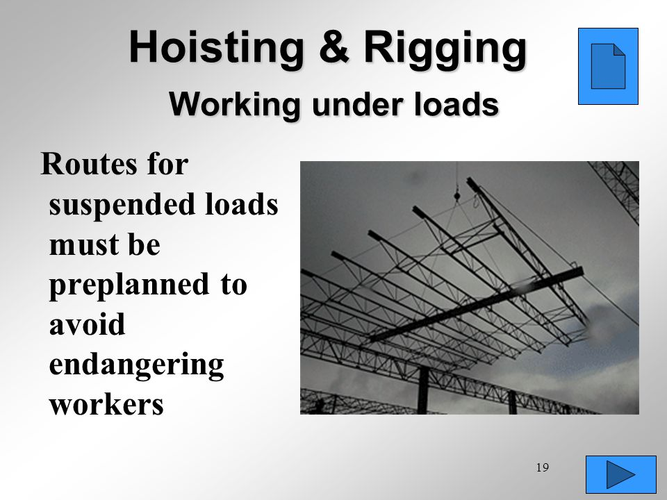 19 Hoisting & Rigging Working under loads Routes for suspended loads must be preplanned to avoid endangering workers