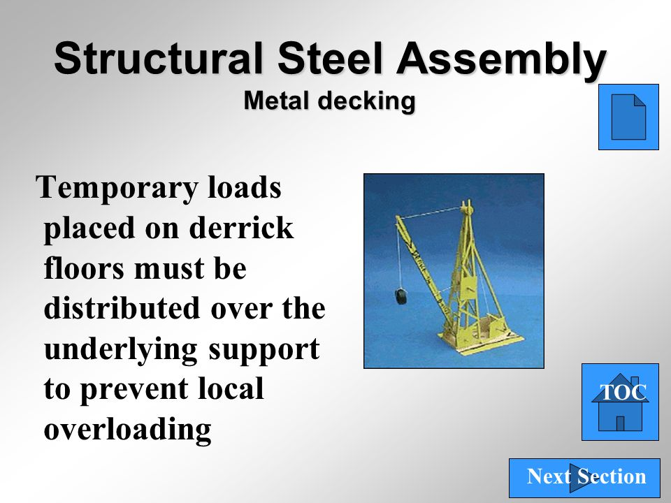 40 Structural Steel Assembly Metal decking Temporary loads placed on derrick floors must be distributed over the underlying support to prevent local o