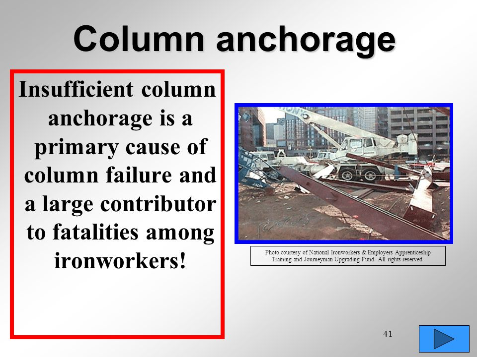 41 Column anchorage Insufficient column anchorage is a primary cause of column failure and a large contributor to fatalities among ironworkers! Photo