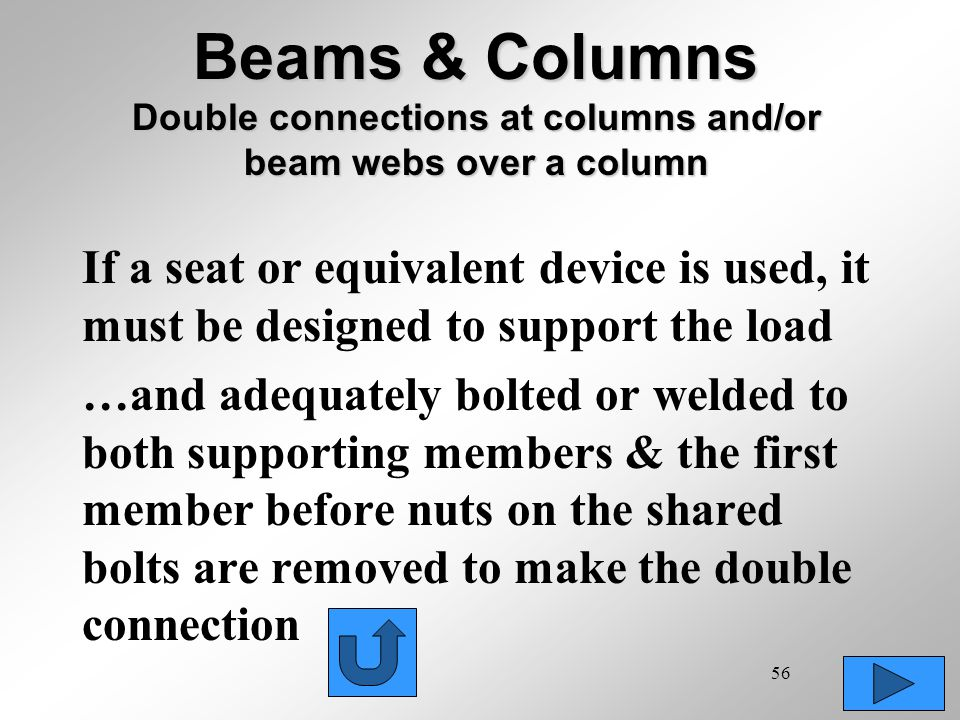 56 Beams & Columns Double connections at columns and/or beam webs over a column If a seat or equivalent device is used, it must be designed to support