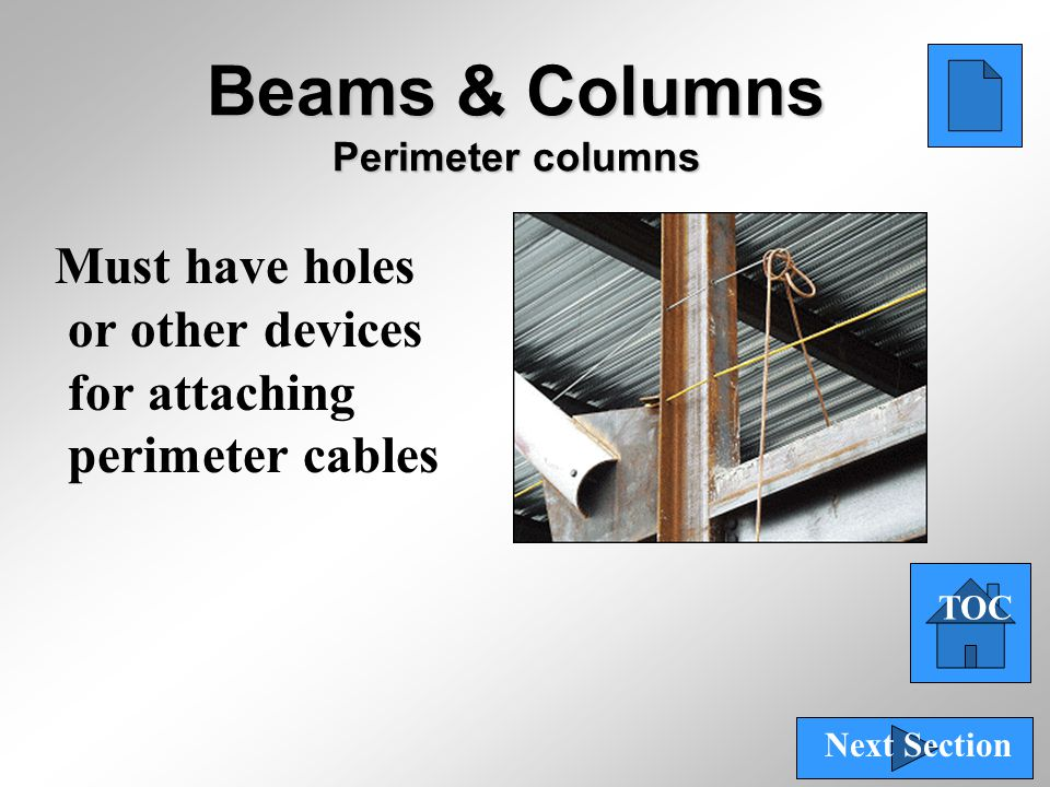 59 Beams & Columns Perimeter columns Must have holes or other devices for attaching perimeter cables TOC Next Section