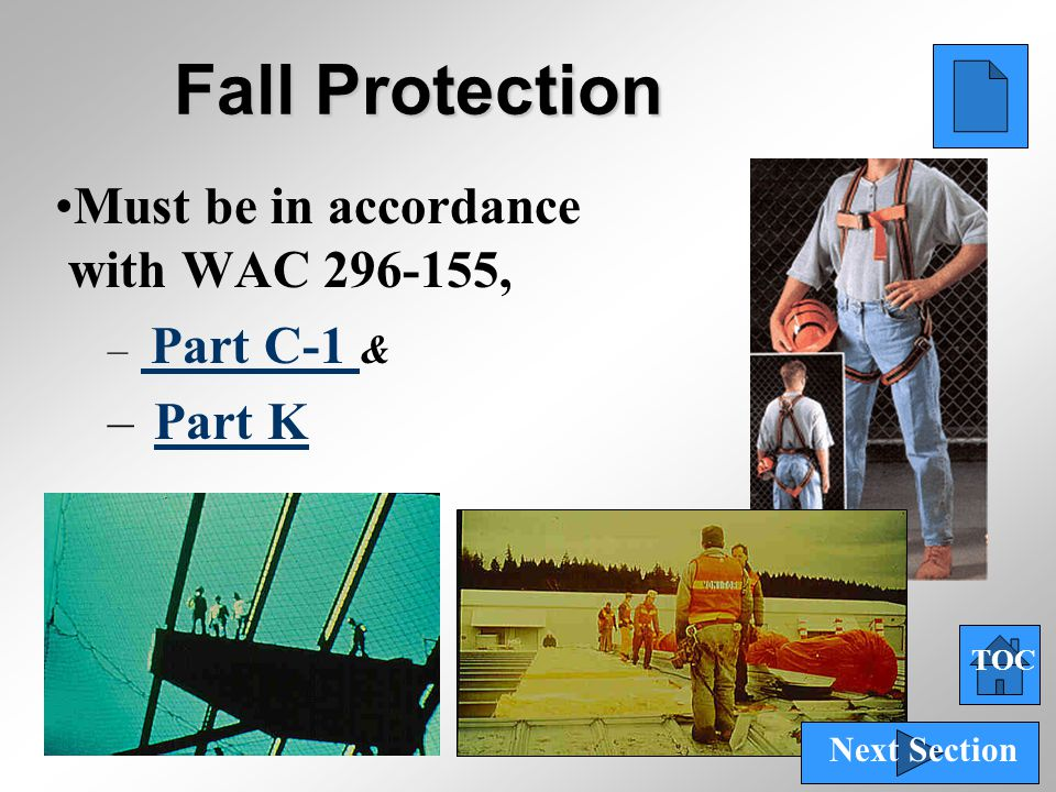 66 Fall Protection Must be in accordance with WAC 296-155, – Part C-1 & Part C-1 – Part KPart K TOC Next Section