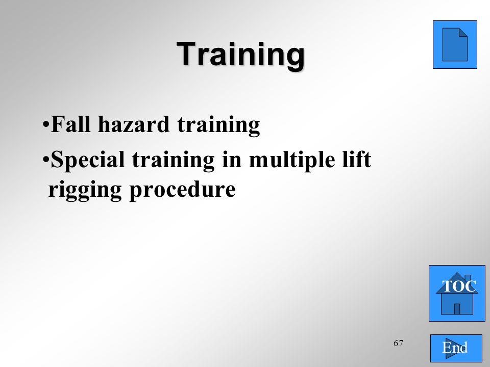 67 Training Fall hazard training Special training in multiple lift rigging procedure TOC End