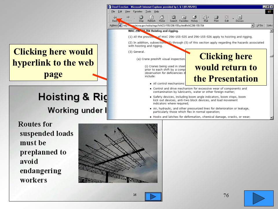 76 Clicking here would hyperlink to the web page Clicking here would return to the Presentation