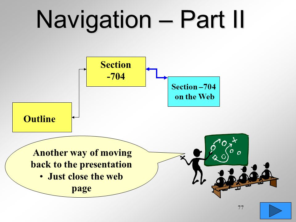77 Navigation – Part II Outline Another way of moving back to the presentation Just close the web page Section -704 Section –704 on the Web