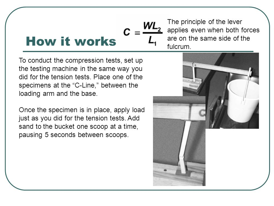 How it works The principle of the lever applies even when both forces are on the same side of the fulcrum. To conduct the compression tests, set up th