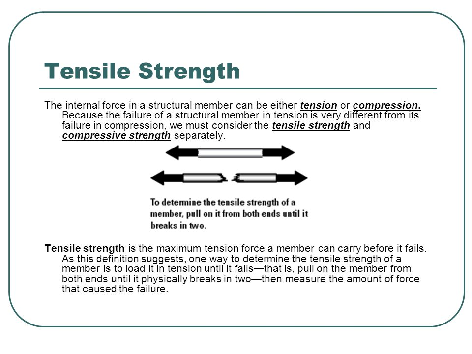 Tensile Strength Suppose we wanted to test the tensile strength of a carbon steel bar.
