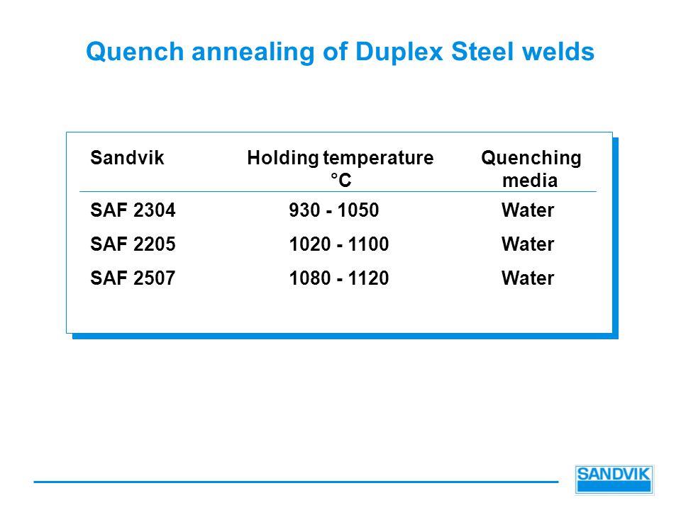 Quench annealing of Duplex Steel welds SandvikHolding temperatureQuenching °C media SAF 2304930 - 1050Water SAF 22051020 - 1100Water SAF 25071080 - 1120Water