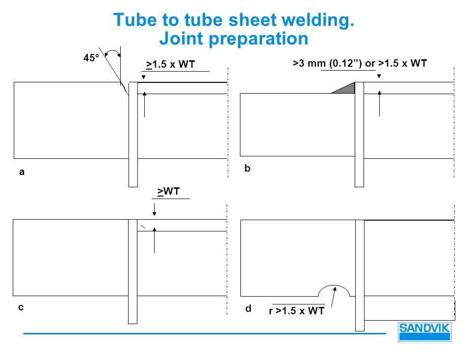 Tube to tube sheet welding.