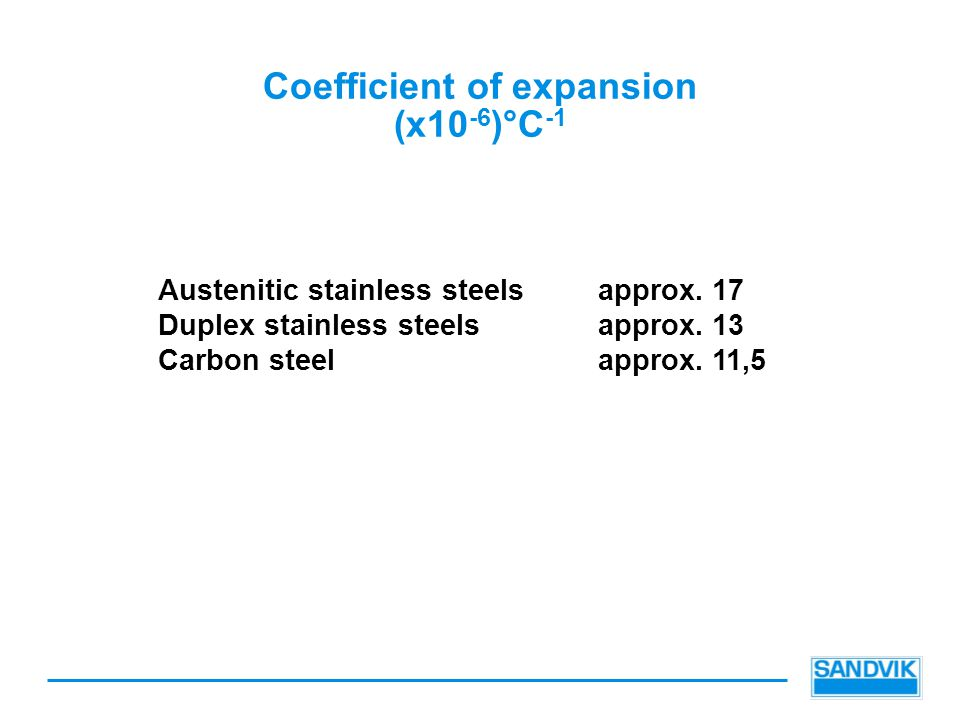 Coefficient of expansion (x10 -6 )°C -1 Austenitic stainless steelsapprox. 17 Duplex stainless steelsapprox. 13 Carbon steelapprox. 11,5