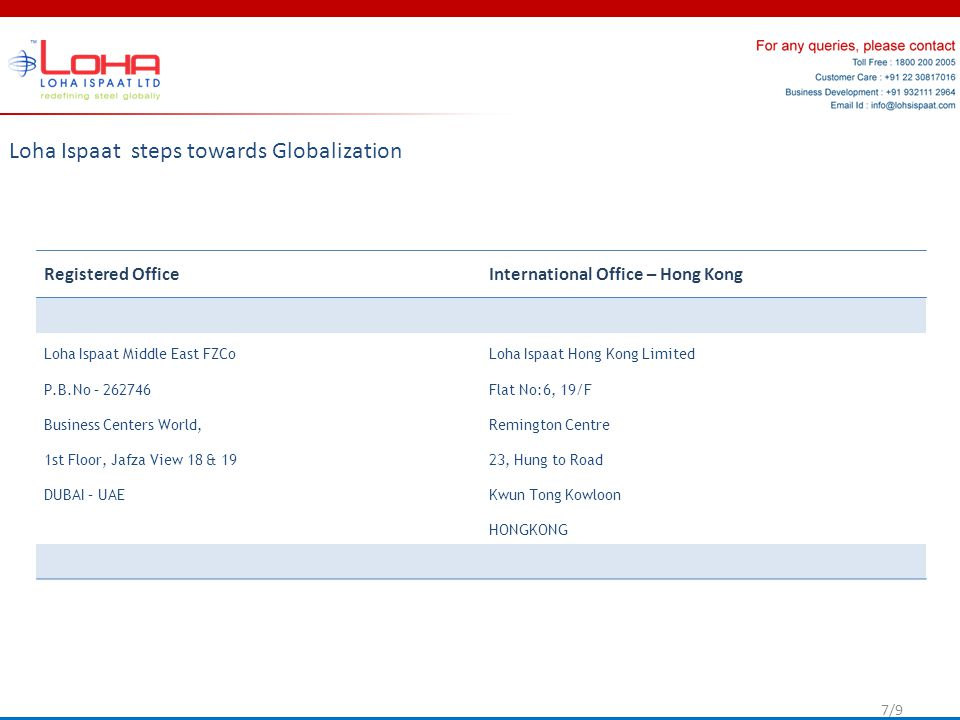 Loha Ispaat steps towards Globalization Registered Office International Office – Hong Kong Loha Ispaat Middle East FZCo P.B.No – 262746 Business Centers World, 1st Floor, Jafza View 18 & 19 DUBAI – UAE Loha Ispaat Hong Kong Limited Flat No:6, 19/F Remington Centre 23, Hung to Road Kwun Tong Kowloon HONGKONG 7/9
