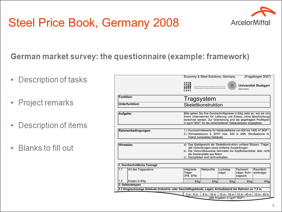 9 German market survey: the questionnaire (example: framework) Description of tasks Project remarks Description of items Blanks to fill out Steel Pric