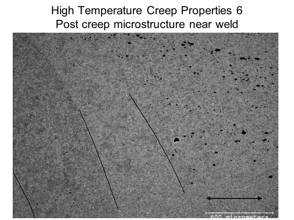 High Temperature Creep Properties 6 Post creep microstructure near weld