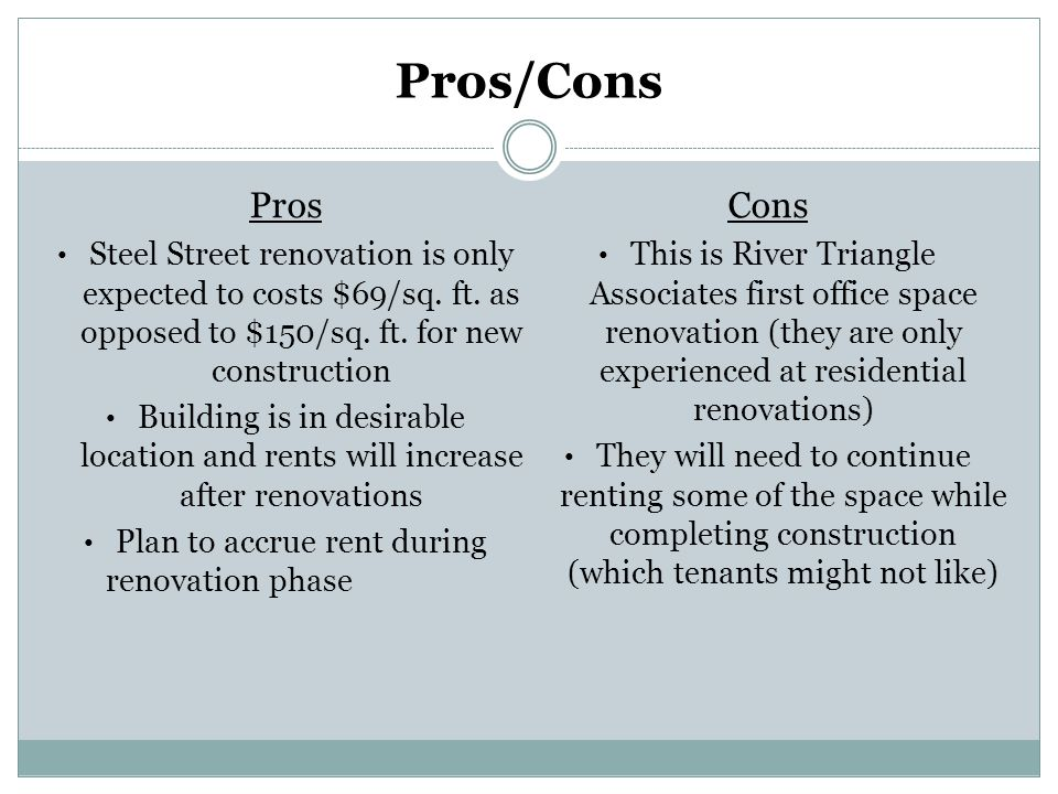 Pros/Cons Pros Steel Street renovation is only expected to costs $69/sq. ft. as opposed to $150/sq. ft. for new construction Building is in desirable