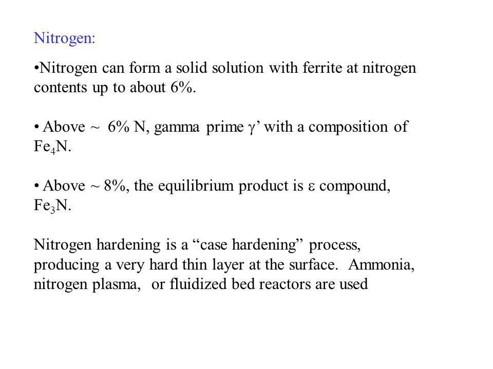 Nitrogen: Nitrogen can form a solid solution with ferrite at nitrogen contents up to about 6%. Above ~ 6% N, gamma prime with a composition of Fe 4 N.