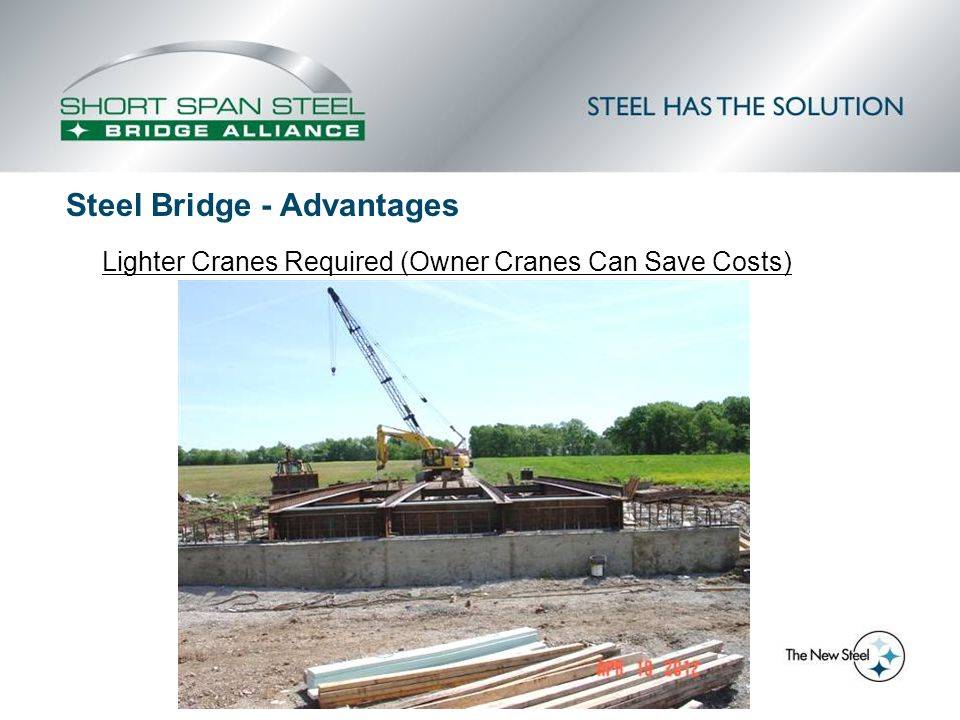 Lighter Cranes Required (Owner Cranes Can Save Costs) Steel Bridge - Advantages