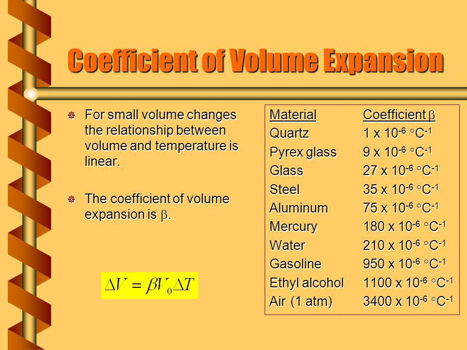 Coefficient of Volume Expansion For small volume changes the relationship between volume and temperature is linear.