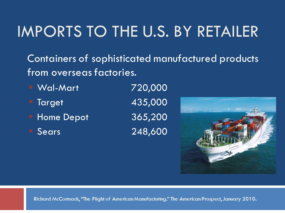 IMPORTS TO THE U.S.