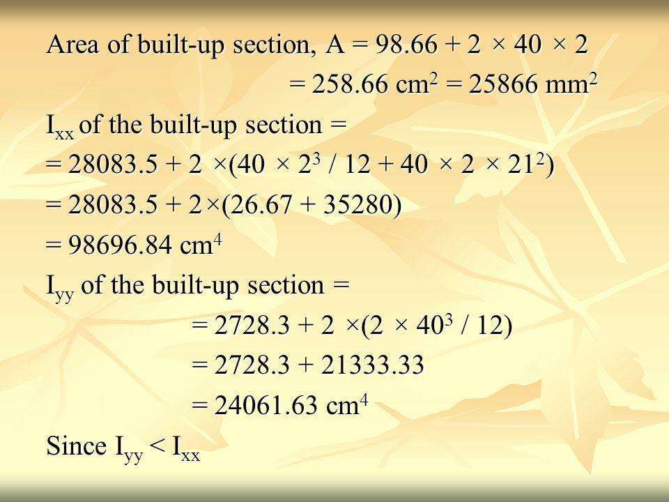 Area of built-up section, A = 98.66 + 2 × 40 × 2 = 258.66 cm 2 = 25866 mm 2 = 258.66 cm 2 = 25866 mm 2 I xx of the built-up section = = 28083.5 + 2 ×(