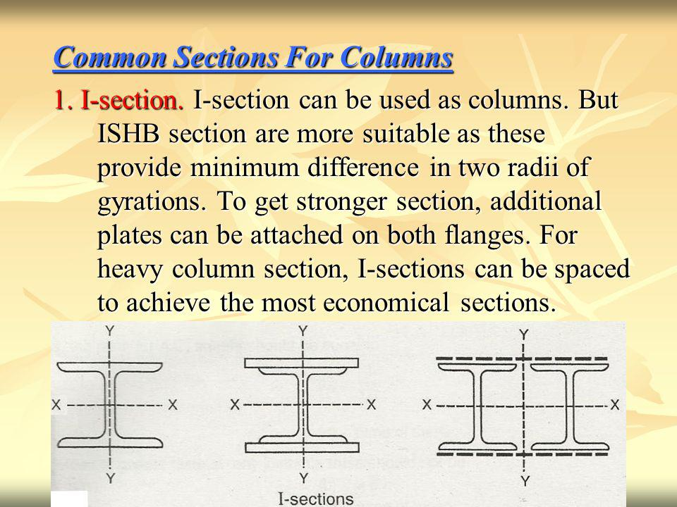 Common Sections For Columns 1.I-section. I-section can be used as columns.
