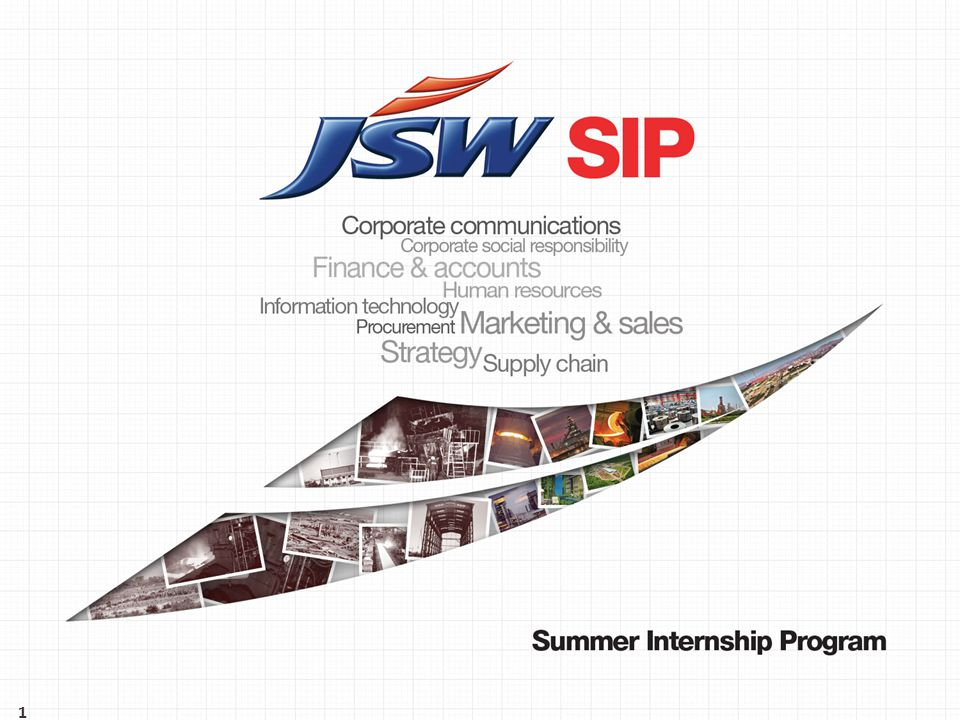 The Global Steel Industry - Snapshot Presentation flow The JSW Group The O P Jindal Group JSW Steel Ltd JSW Summer Internship Program: Overview JSW Summer Internship Program: Benefits & Application process 2 1 2 3 4 6 7 5 JSW Energy Ltd