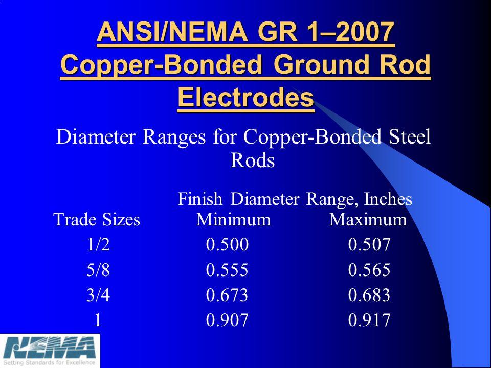 ANSI/NEMA GR 1–2007 Copper-Bonded Ground Rod Electrodes Diameter Ranges for Copper-Bonded Steel Rods Finish Diameter Range, Inches Trade Sizes Minimum