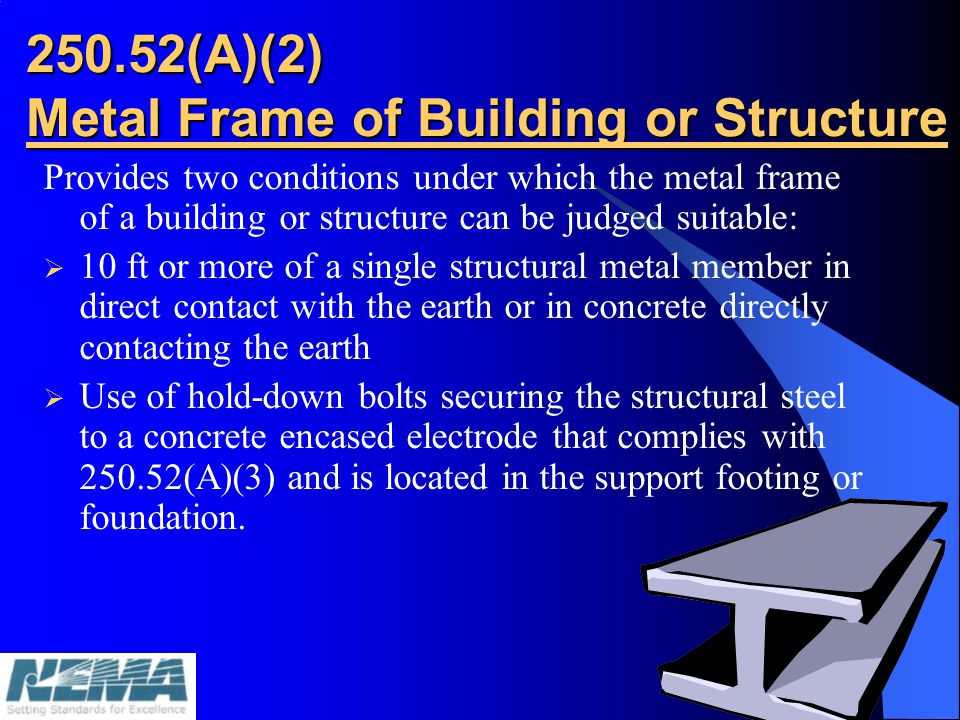 250.52(A)(3) Concrete-Encased Electrode A concrete-encased electrode shall consist of at least 6.0 m (20 ft) of either: One or more bare or galvanized or other electrically conductive coated steel reinforced bars or rods not less than 13mm(1/2 in.) in diameter, installed in one continuous length, or if in multiple pieces connected together by the usual tie wire or other effective connection method Bare copper conductor not smaller than 4 AWG Encased by at least 50mm (2 in.) of concrete Electrode shall be: - at least 20 ft in length - reinforcing bars or rods not less than ½ in diameter - bare copper conductor not less than #4 AWG Reinforcing bars may be bonded together by the usual steel tie wires