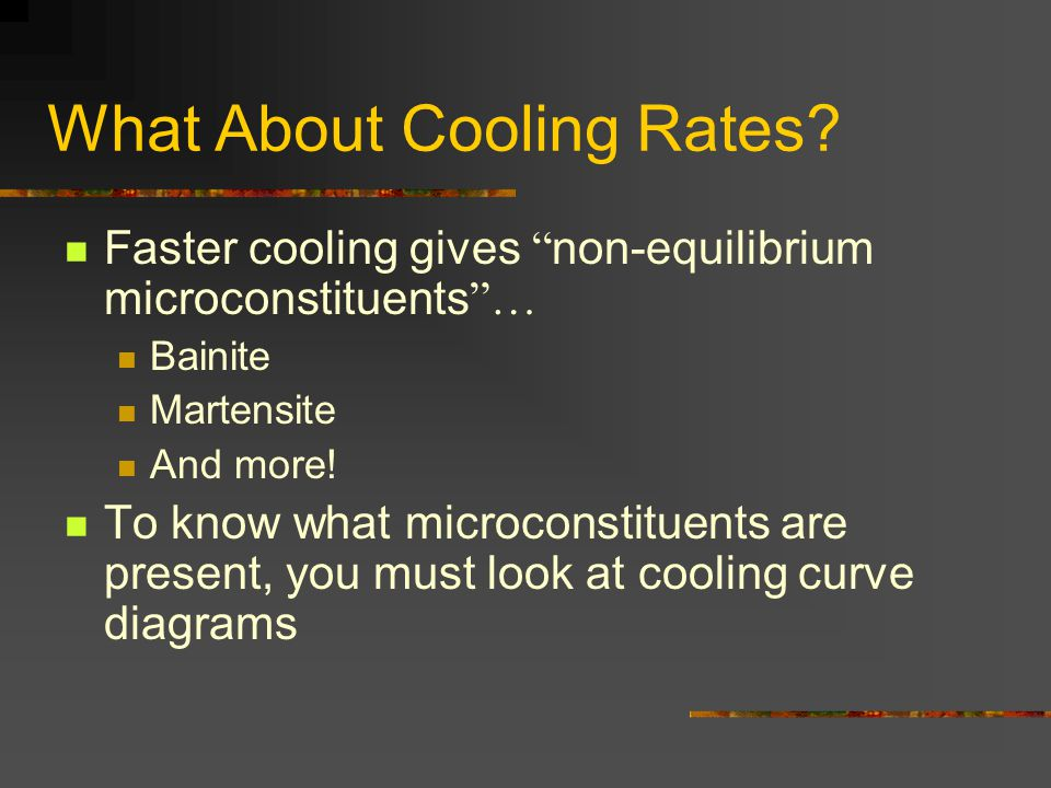 What About Cooling Rates? Faster cooling gives non-equilibrium microconstituents … Bainite Martensite And more! To know what microconstituents are pre